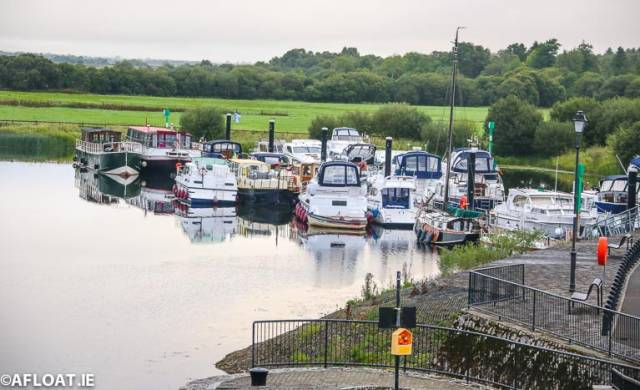 The public moorings at Shannonbridge on the Shannon Navigation