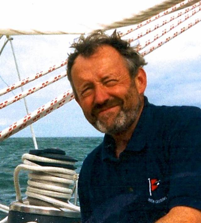 Never happier than when at sea - Donal Lynch in 1998, aboard the Swan 55 Rambler.