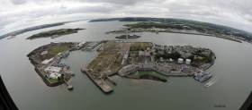 The Irish Naval Service base at Haulbowline in lower Cork Harbour