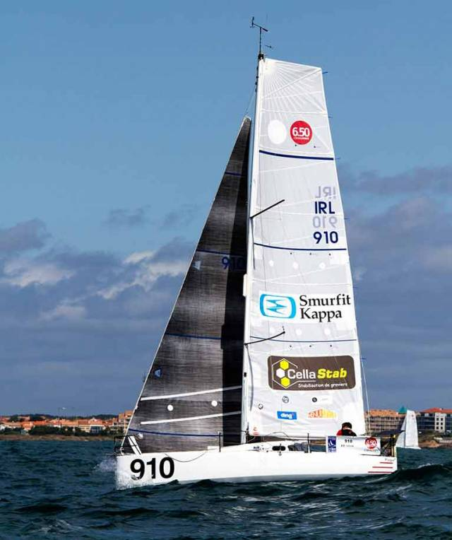 Tom Dolan's Pogo 3 IRL 910 is in the top rankings of the Mini 650 fleet, which starts Stage 2 of the Transgascogne 2017 from northwest Spain back to France today. Tom will be giving a presentaton at the Speaker Supper in the National Yacht Club on Thursday August 17th