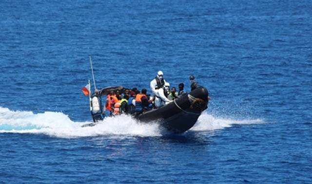 A semi-rigid RIB boat from LE Roisin is seen on the first humanitarian search and rescue mission since the OPV was deployed last Thursday