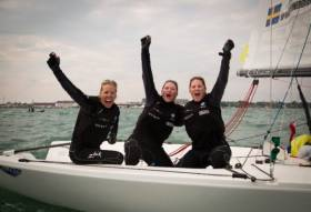 Anna Ostling and crew celebrate Match Race success