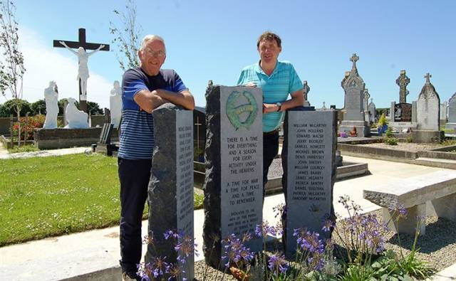 Jim Crowley and Tony McCarthy of The Barryroe and Courtmacsherry History Group at the memorial In Lislevane Cemetery
