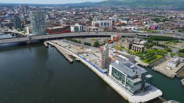 in this file photo taken earlier this year are initial construction stages of City Quays 2 development. Afloat adds that along the quay is where the old Isle of Man Steam Packet ferry terminal was located. In the background to the right of the tower under construction are the Belfast Harbour Commissioners headquarters.