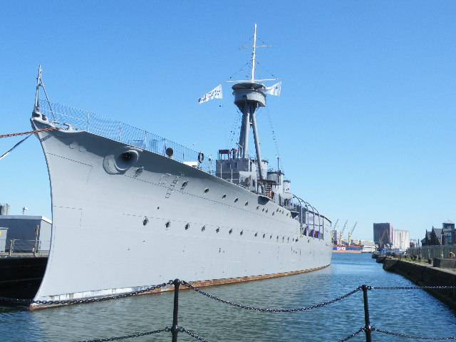 World War 1 veteran HMS Caroline a five-star tourist attraction and museum located in Belfast Harbour.