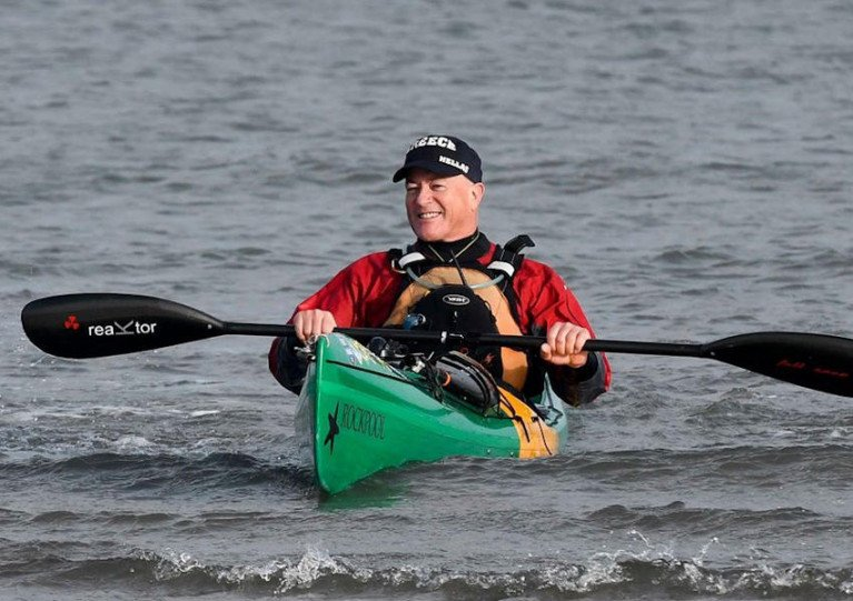 Kevin O'Sullivan covering the last few metres of his round Ireland solo circumnavigation