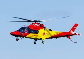 The woman was airlifted to hospital by the Irish Community Rapid Response helicopter
