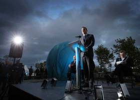 "An Taoiseach Mr. Leo Varadkar TD, pictured at the official 'opening up' of Port Centre following completion of a 12 month project to soften the Port's boundaries with the city which included the unveiling of the new art insulation entitled ""The Sphere"" by the Lord Mayor of Dublin, Mícheál Mac Donncha"
