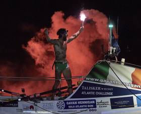 Gavan Hennigan celebrates his arrival in Antigua after setting a new Irish solo Atlantic rowing record