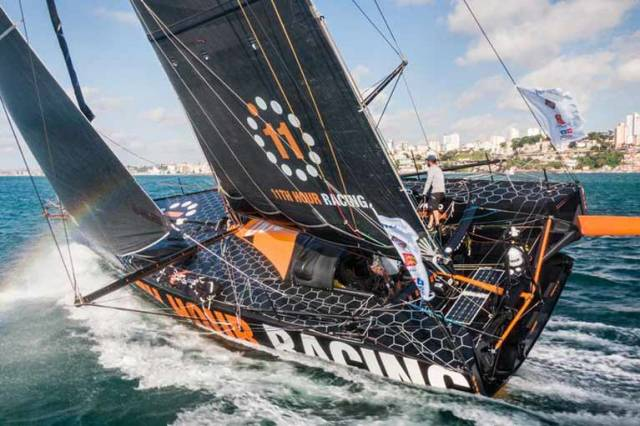 After 14 days, 6 hours, 10 minutes and 23 seconds of sailing, 11th Hour Racing, led by co-skippers Charlie Enright and Pascal Bidégorry, finished in 5th place Sunday to finish the 2019 Transat Jacques Vabre into Salvador de Bahia, Brazil.