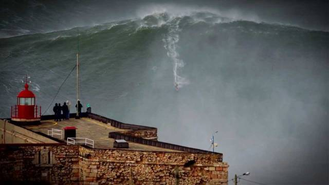 North Atlantic waves like those seen here in Nazaré, Portugal can reach gigantic proportions