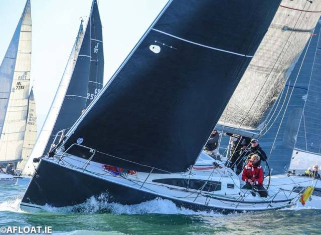 The dark-hulled J122 Jib and Tonic (Morgan Crowe) is on 57 points and second overall in a record breaking 75-boat DBSC Turkey Shoot fleet
