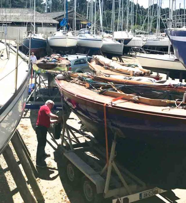 Now you see them, now you don't – spot the newly-arrived Howth 17s at the boatyard in Vannes at lunchtime today