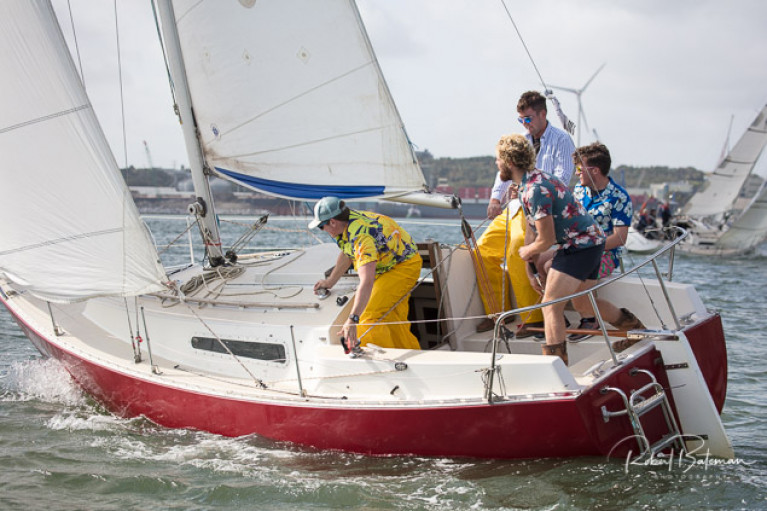 George Radley Jnr and crew on Creamy Beam, a vintage Sadler 25, competing in the Cobh to Blackrock Race