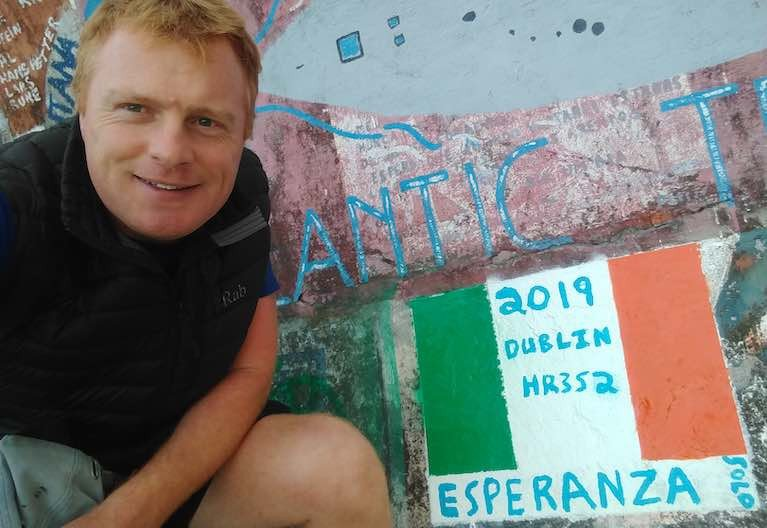Author Alan McMahon, painted the boat name on the harbour wall in Porto Santo, his entrance point to the Atlantic