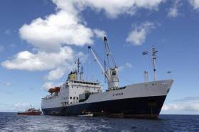 The former Royal Mail Ship, RMS St. Helena, a passenger-cargoship Afloat adds was confirmed by the St. Helena Government with a sale of the ship concluded in London yesterday. The 6,000 gross tonnage ship is now to serve as an anti-piracy security transfer vessel in the Middle East.