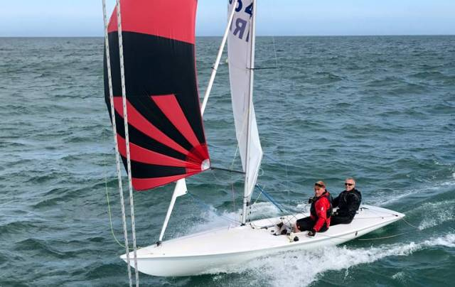 Ian Mathews and Keith Poole plane over the DBSC finish line in yesterday's Flying Fifteen race on Dublin Bay. See vid below.