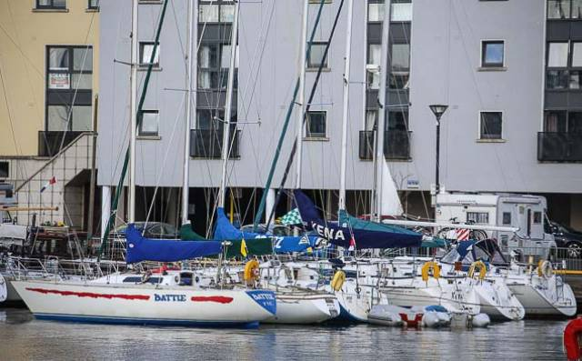 ICRA yachts at Galway Docks awaiting a break in the weather