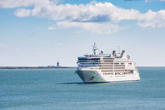 Making a maiden 'Irish' visit, newbuild Silver Muse at anchor off Dunmore East yesterday. The flagship of ultra-luxury operator Silversea Cruises is today visiting Cork Harbour