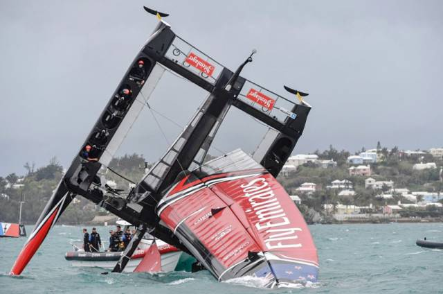 The aftermath of Emirates Team New Zealand's pitch-pole on Tuesday