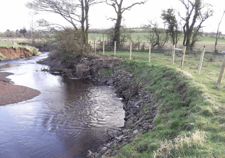 New fencing on the Aghlisk River in Co Tyrone which was threatened by bank erosion
