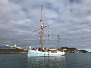 The Limerick ketch Ilen in fine order at Narsaq in southwest Greenland this week
