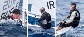 (left to right) Finn Lynch, James Espey and Fionn Lyden are vying for the Irish Laser place in Rio today