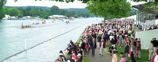 Crews racing at Henley as spectators watch. Pic courtesy of Henley Royal Regatta.