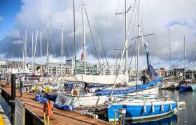 Part of the 50–plus boat ICRA championship fleet in Galway Docks. The event was cancelled last Friday with no races having being held due to weather and port restrictions in Galway Docks