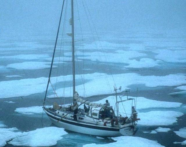 'Dodo's Delight' caught in the ice pack, Bylot Island in 2001