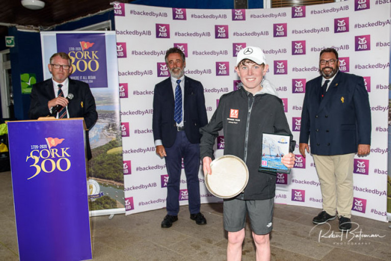 Irish Optimist Champion 2020 Johnny Flynn of Howth with his prizes at Royal Cork Yacht Club. Scroll down for a prizegiving slideshow