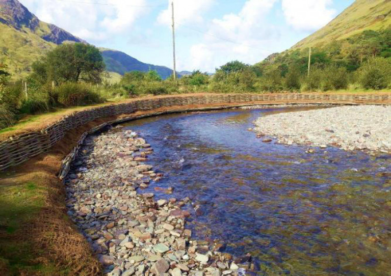 Completed bank works at the Glenumera fishery in Co Mayo