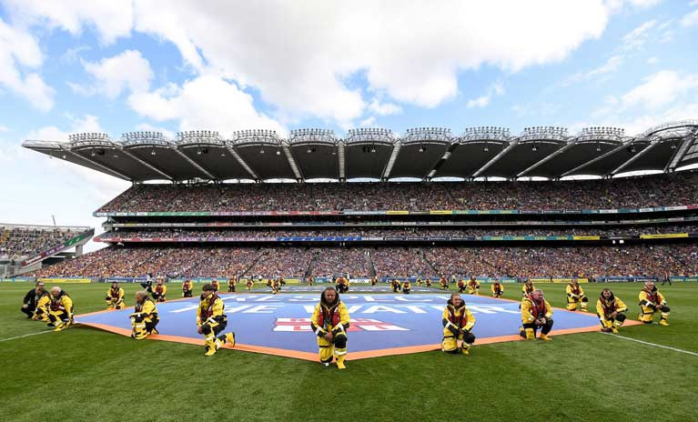 The RNLI lineout at Croke Park to promote water safety with the GAA