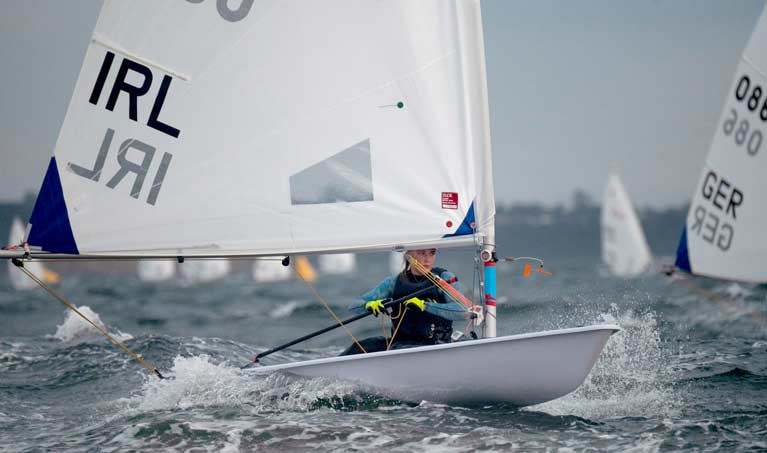 Aoife Hopkins competing at the first and only Olympic trial in the women's Radial class in Australia