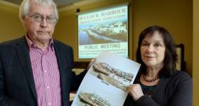 Fergal McLoughlin, An Taisce and Susan McDonnell from the Bulloch Harbour Preservation Association at a public meeting on the proposed development at Bulloch Harbour Dalkey.