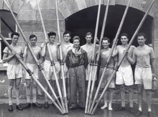 The UCD Junior Eight, 1947,  the champions of  Ireland, with Michael Cleary third from left. Junior was an adult grade.