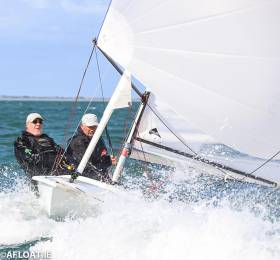 Flying Fifteen under spinnaker on Dublin Bay