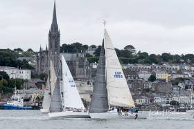 Cruisers racing past Cobh in Cork Harbour