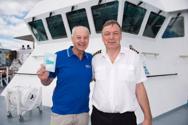 Bobby Kerr announced as Chair of the Great Lighthouses of Ireland, with Captain Harry McClenahan, on board the Granuaile at Seafest