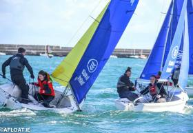 College team racing at Dun Laoghaire Harbour