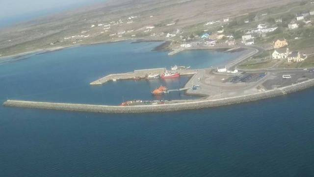 Kilronan Harbour, Inishmore (Inis Mór) the largest of the three Aran Islands. Residents have welcomed in the securing of a new five-year ferry service contract with Aran Ferries Teo.