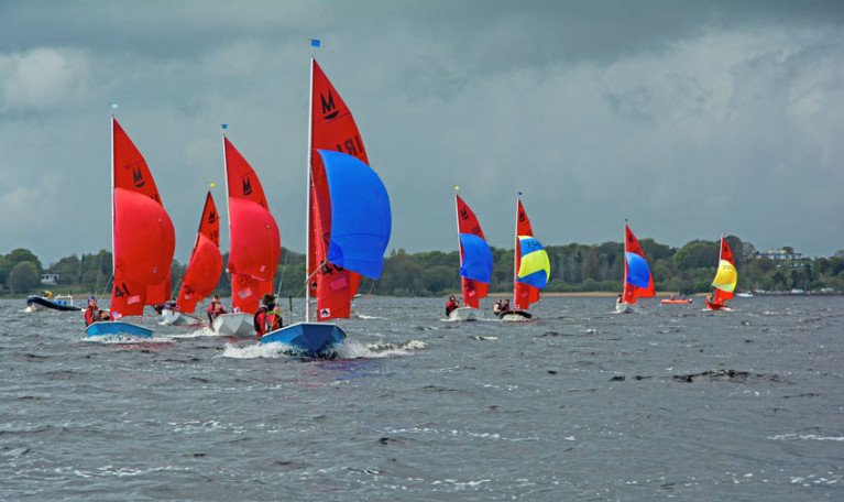 Mirrors racing downwind on Lough Ree