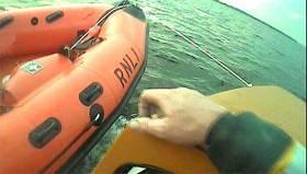 Lough Derg RNLI carry out an alongside tow of a motorboat grounded at Kylenoe Rocks last night