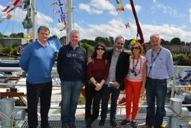 Visiting Yacht Pier: (from left to right) Joe Hiney, Paul Fleming  Drogheda Port Company, Heidi & Steve Wickham, Mary T Daly Louth Co Co, Martin Donnelly Drogheda Port.