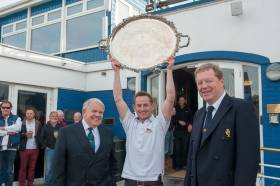 ISA President David Lovegrove  left witth winner Alex Barry ISA Senior All Ireland Champion 2016 and John Roche, Royal Cork Yacht Club Admiral. Scroll down for photo gallery