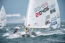Aisling Keller on her way to qualifying Ireland in the Women's Laser Radial for the Tokyo 2020 Olympics