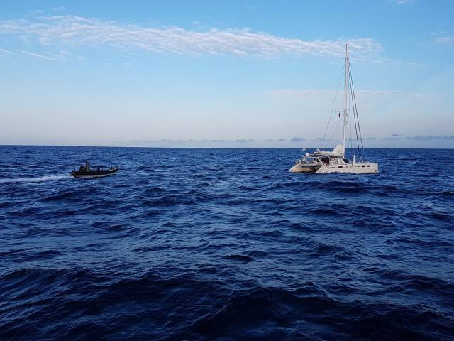 Irish Defence Forces personnel from the Naval Service along with UK's NCA and Border Force officers have intercepted a catamaran containing cocaine off the coast of Cornwall.