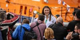 Laser sailor Annalise Murphy poses for photographers with her Olympic Silver medal in Dun Laoghaire