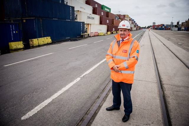 Gary Hodgson (Strategic Projects Director) at the Port of Liverpool where Afloat adds that 'feeder' services to and from Ireland will connect with the new UK port rail facilities