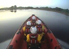 Carrybridge RNLI's inshore lifeboat en route to the stricken vessel near Killyhelvin jetty